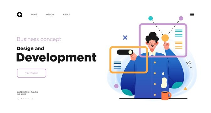 Design and Development. Landing page template with Programmer or designer working in a company office. Website design