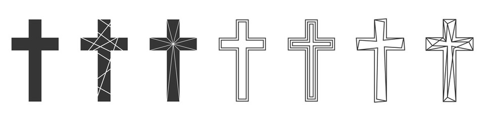 Set of Christian Cross. Abstract vector icons.