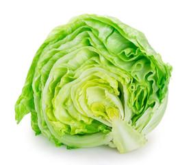 Fototapete - Fresh iceberg lettuce on white background