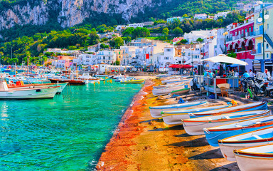 Printed kitchen splashbacks Coast Boats at Marina Grande embankment in Capri Island Tyrrhenian sea reflex