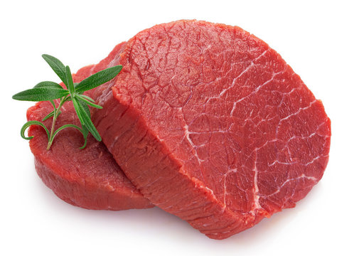 Raw beef meat on white background