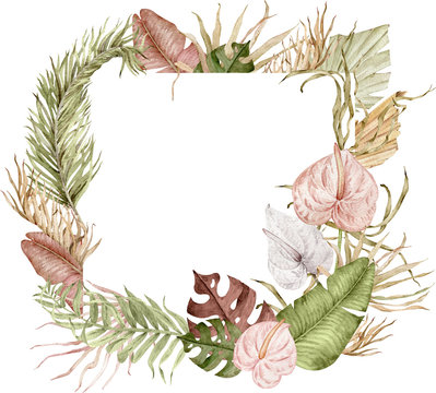 Square tropical frame decorated with watercolor exotic leaves and anthurium flowers isolated on white background.