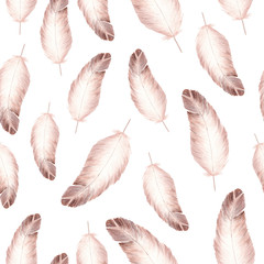 Hand made watercolor feathers seamless pattern on white background.