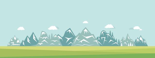 Papiers peints Bleu clair Mountain landscape vector flat illustration. Nature, clouds, grass and mountains suburban view.