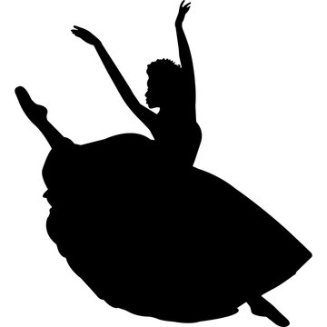 African American Ballerina in Long Tutu Silhouette Vector