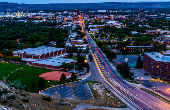 Billings Montana Cityscape streaming lights
