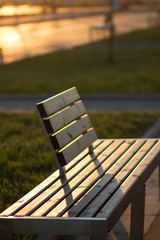 Spring day in the park. The rays of the sun fall on the benches