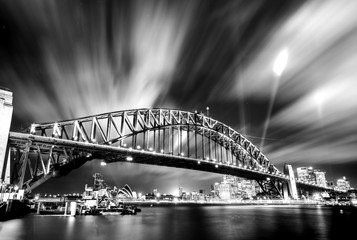 Black and white photo of Sydney Harbour Bridge at night