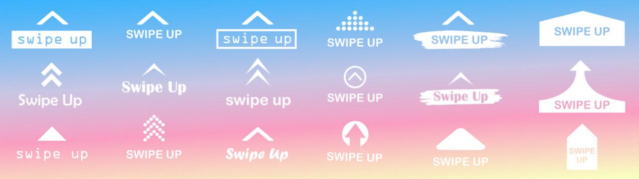 Swipe up set. Swipe up vector. swipe up button.