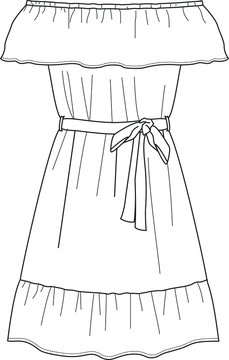 DRESS, Fashion Flat Sketches, Apparel Design Template. Ruffle bardot dress.
