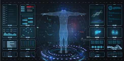 Modern medical examination HUD, UI, GUI style. Human body scan  Anatomy, ECG monitor, Dna formula. element medical examination. Display set virtual interface elements. Modern medical examination style Wall mural