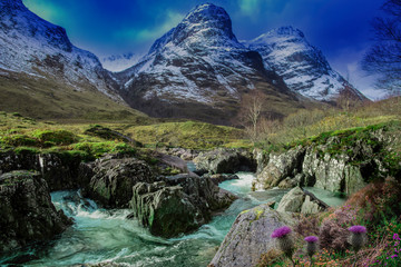 view of the valley glencoe, highlands, scotland, uk with thistles and heather next to the river coe and snow capped mountains. Wall mural