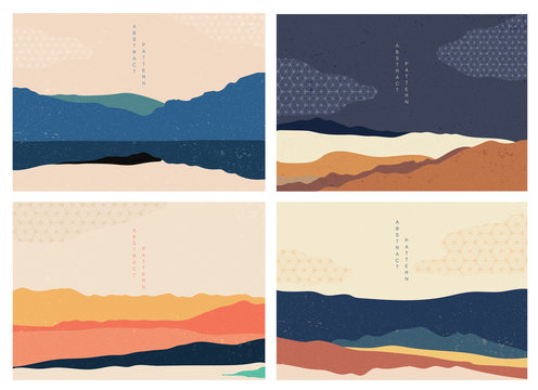 Landscape background with Japanese pattern vector. Mountain template with geometric elements. Abstract wallpaper.