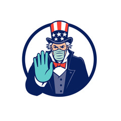 Mascot icon illustration of American Uncle Sam, national personification of US government, wearing a surgical mask, saying stop spread of virus by  hand signal on isolated background in retro style.