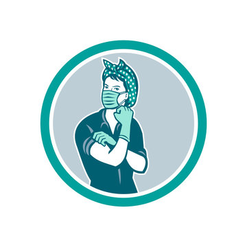 Mascot icon illustration of American Rosie the riveter as medical healthcare essential worker wearing a surgical mask and gloves saying we can do it set inside circle done in retro style.