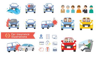 自動車 車 自動車保険 イラスト ベクター 人物 セット Wall mural