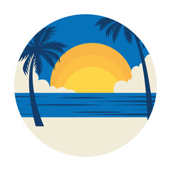 Wall Mural - summer landscape with tree palms exotic and sea vector illustration design