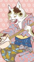 浮世絵 猫のけいこ カラフル