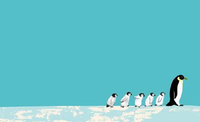 March of a penguin family ペンギンファミリーマーチ