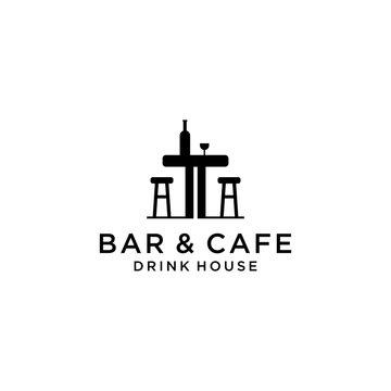 Creative modern bar and cafe sign logo design template.