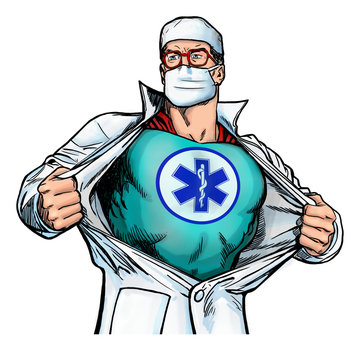 superhero doctor with emergency medical ems star of life logo