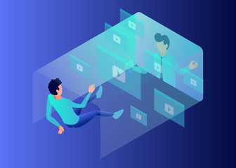 Isometric Vector Illustration Representing A Student is Drifting Lost in Teacher's Explanation Through Videos