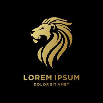 King Lion Head Logo Template, Lion Strong Logo Golden Royal Premium Elegant Design