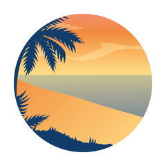 Wall Mural - summer landscape with tree palm exotic and sea vector illustration design