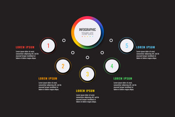 business infographic template with five white round realistic elements on a black background. modern vector data visualisation with textboxes. easy to edit and customize. eps10