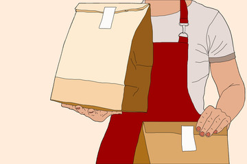 Man Delivering with Grocery order. Delivery concept - illustration