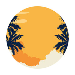 Wall Mural - summer landscape with tree palm exotic vector illustration design