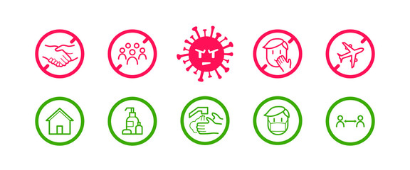 Coronavirus icon set for infographic with prevention tips and recommendations. Isolated corona virus flat signs with precautions and preventions to stop spreading. Vector Wall mural
