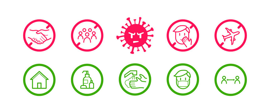 Coronavirus icon set for infographic with prevention tips and recommendations. Isolated corona virus flat signs with precautions and preventions to stop spreading. Vector