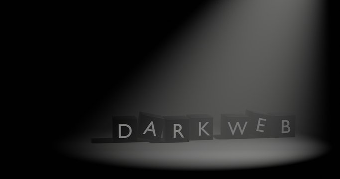 Dark Web letter at cube in dark background with volumetric spotlight effect. 3D illustration with empty space.
