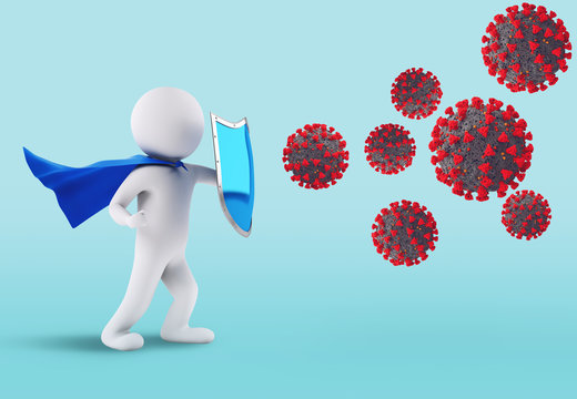 Concept of fight and defensive immunity against the virus. 3D Rendering