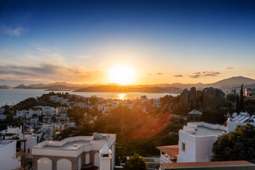 Wall Mural - Amazing sunset on the beautiful harbor city Bodrum Turkey.
