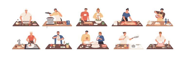 Smiling people cooking on kitchen table set vector flat illustration. Collection of various cartoon man, woman, couple and family preparing food isolated on white. Colorful person meal preparation Wall mural