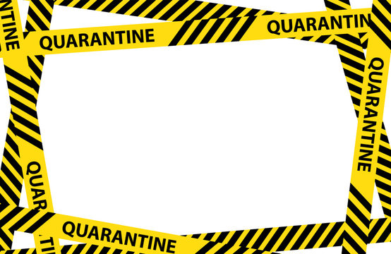 Yellow quarantine warning tape frame with place for text. vector Illustration isolated on white background. graphic warning text of quarantine banner. Coronavirus, Covid-19 outbreak