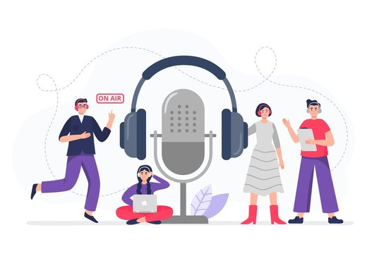 Podcasting. Podcasters with headphones, radio hosts recording podcasts. The cool team gets ready to be on air. Flat vector illustration.