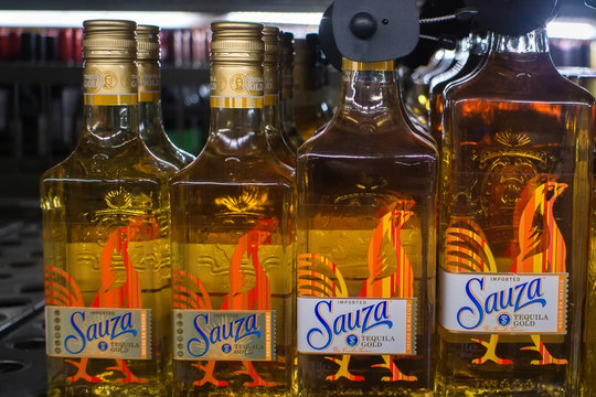 Tyumen, Russia-November 05, 2019: Bottle of Sauza Tequila Gold. Perseverancia distiller was the first to call the liquor tequila and to import to the USA