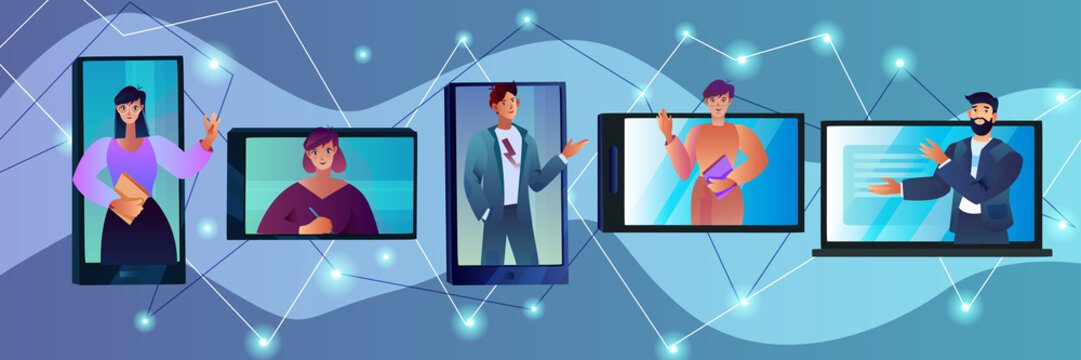 Vector illustration with smartphone, tablet, laptop, male and female characters in cartoon flat style. Video conference concept with smiling people. Online remote teamwork and e-learning banner