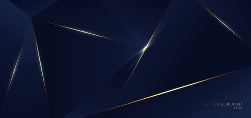 Abstract blue polygon triangles shape pattern background with golden line and lighting effect luxury style