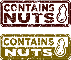 Contains Nuts stamps. Rectangle shape. Vector file. Grunge texture.