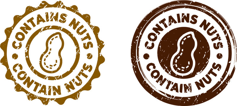 Contains Nuts stamps. Circle shape. Vector file. Grunge texture.