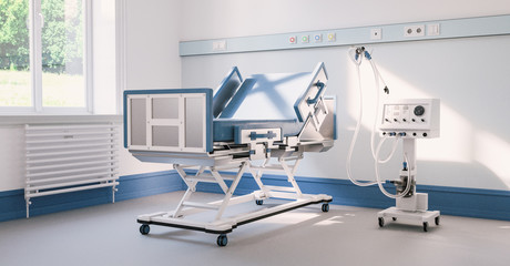 Empty intensive care bed with ventilator in the intensive care unit of a clinic during Covid-19 or coronavirus