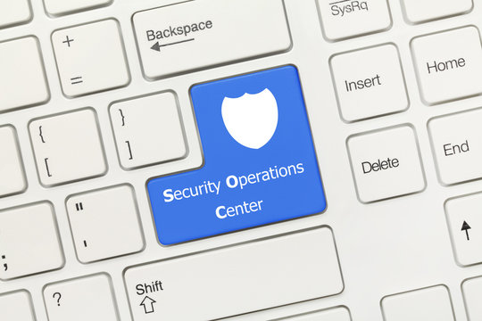 White conceptual keyboard - Security Operations Center (blue key)