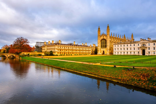 View of University with Chapel in Cambridge, England, UK during the cloudy autumn day