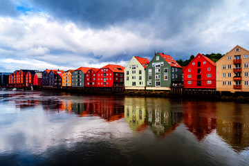 Wall Mural - City center of Trondheim, Norway during the cloudy summer day
