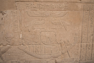 Wall Murals Place of worship Magnificent and ancient temple of Edfu, located on the western bank of the Nile River in Egypt, Africa, dedicated to the god of the Dioese Horus.