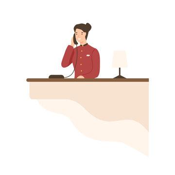 Friendly cartoon woman working on hotel reception vector flat illustration